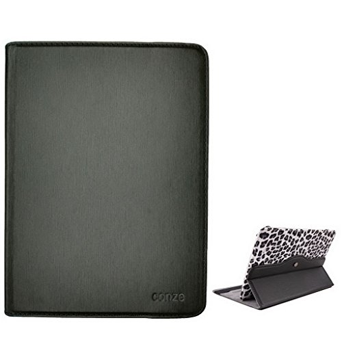 Conze Grey Leopard Print Design Flip Case with Stand fit Maxwest Nitro Phablet 71