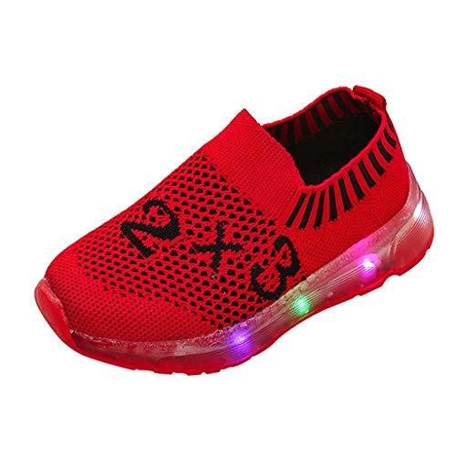 HDUFGJ Kinder Freizeitschuhe Mädchen Jungen Led Leuchtende Schuhe Fliegendes Weben Outdoor rutschfest Sportschuhe Kinderschuhe28.5 EU(rot)