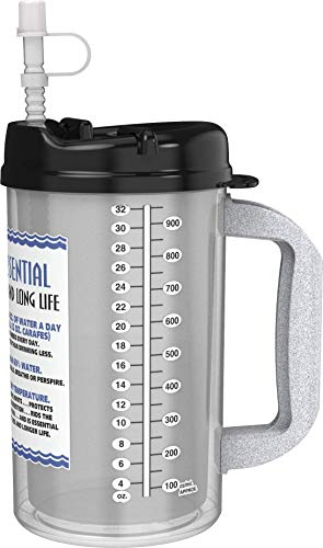 32 oz Insulated Cold Drink Hospital Mug with Black Lid | Water Essential