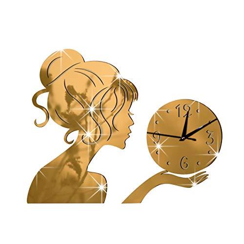 NL Reloj de Pared del péndulo, Relojes de Pared Grande for el hogar y la Oficina silencioso DIY del Reloj de Pared sin Marco, Moderno Silencio (Color : Gold)