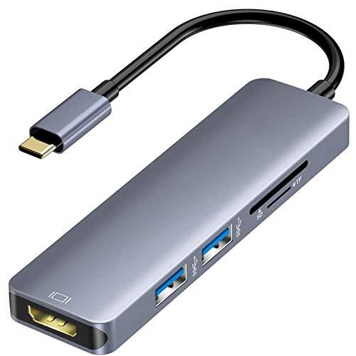Xflelectronic Concentrador USB C, Dongle USB C con Salida HDMI 4K / 2 Puertos USB 3.0 / Puerto Lector de Tarjetas SD/Micro SD/TF, Adaptador HDMI portátil para MacBook Pro/iMac/Samsung Galaxy y más