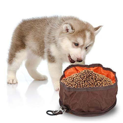 Pet Food & Water Bowl, opvouwbare hondenmand multifunctionele opvouwbare emmer watertas draagbare hondenmand katten napvoeding water opvouwbare kom voor op reis, koffie