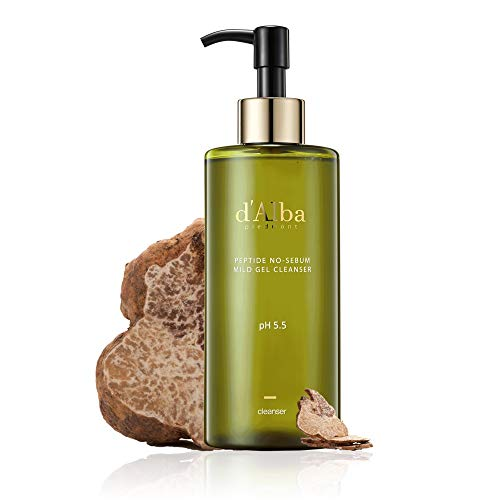 d'Alba PEPTIDE NO SEBUM GEL FACE WASH-Great for oily&sensitive skin | Gentle Gel Cleanser+Balance Oil Production+Hydration+Anti Aging Care(ALL-IN-ONE CARE!) | Dermatologist Recommended | 10.14 fl. oz.