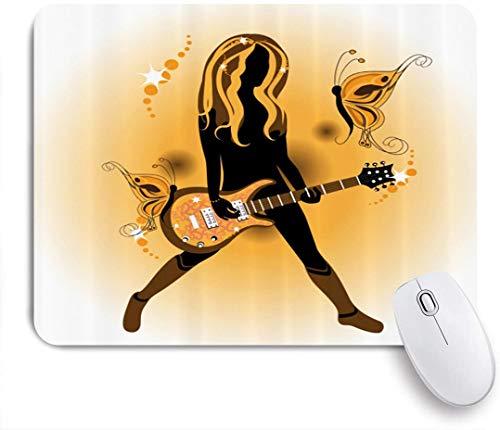 Dekoratives Gaming-Mauspad,Mädchen Haar Gitarre,Bürocomputer-Mausmatte mit rutschfester Gummibasis