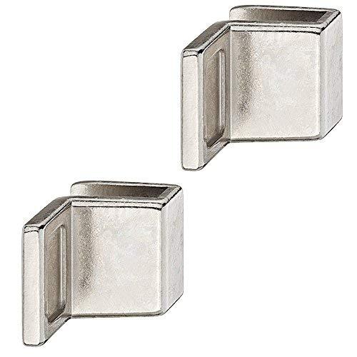 Gedotec Glastürgriff Schrank Möbelgriffe für Glastüren - Ziehgriff zum Klemmen | Glasdicke 4-6 mm | Zinkdruckguss vernickelt | Griff für Schranktüren & Glastüren | 2 Stück - Design Spiegel-Türgriff