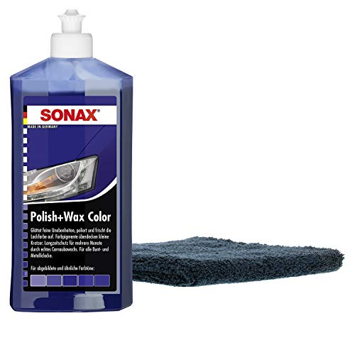 SONAX - Polish+Wax Color Farbpolitur 500ml blau + Premium Poliertuch