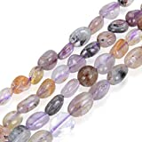 3 Strands Top Quality Natural Super Seven Quartz Gemstone 6-10mm Free Form Oval Pebbly Stone Beads (Amethyst White Smoky Quartz Cacoxenite Goethite Lepidocrocite Rutile) GZ12-36