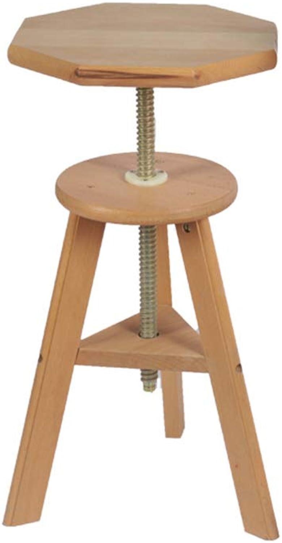 YQQ redating Lift Stool Folding Chair Solid Wood Stool Sketch Oil Painting Stool Three-Legged Stool Art Stool Beech (color   Octagonal)