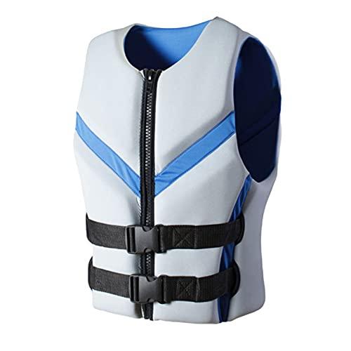 FSDH Chaqueta de Rescate de Nylon Impermeable con cinturón de Seguridad Ajustable, Chaleco de natación para Adultos, Chaleco de Vida de Pesca de Primeros Auxilios de kaya L