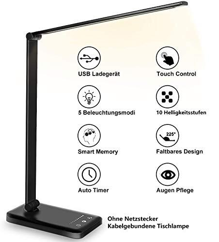 Schreibtischlampe LED Dimmbare Tischleuchte 5 Farb und 10 Helligkeitsstufen Augenfreundliche Tischlampe Nachttischlampe USB-Anschluss für Aufladung des Smartphones Tischlampe für Kinder