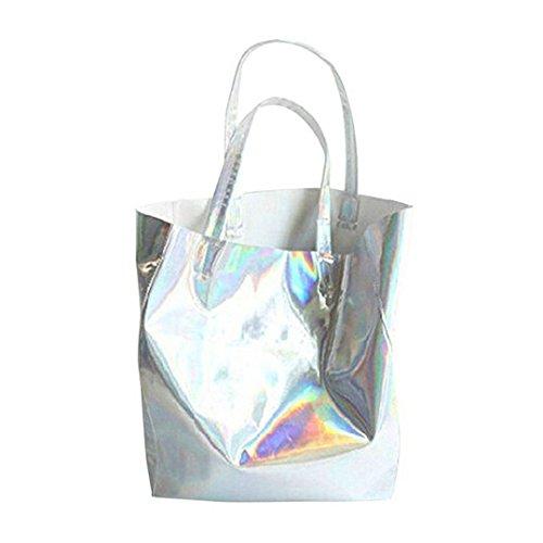 Millya Hologramm-Handtasche, Schultertasche, Laser-Optik, für Damen und Herren, silberfarben,...