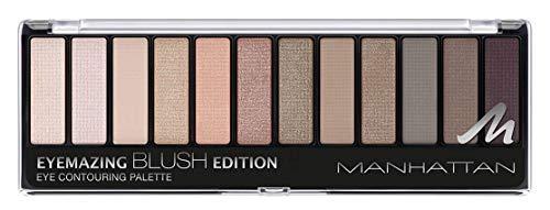 Manhattan Eyemazing Eye Contouring Palette – 12 Lidschatten Farben in einer Palette, von Weiß bis Taupe in Glitzer und Matt – Farbe 002 Blush Edition – 1 x 14,6g