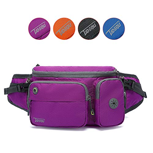 TUDEQU Running Waist Bag Fanny Pack Bum Bag with Two Invisible Bottle Holder for Men Women (Purple)