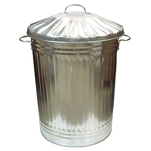 Bidone da giardino e casa, per foglie, carta, legno, utilizzabile anche come bidone per la spazzatura, in metallo galvanizzato, da 15 l, 60 l e 90 l, realizzato in Regno Unito