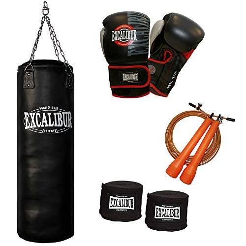 Boxset Excalibur PRO mit 10oz. PRO Boxhandschuhen, Boxsack PRO 120cm, Kettenaufhängung, Wickelbandagen und Springseil
