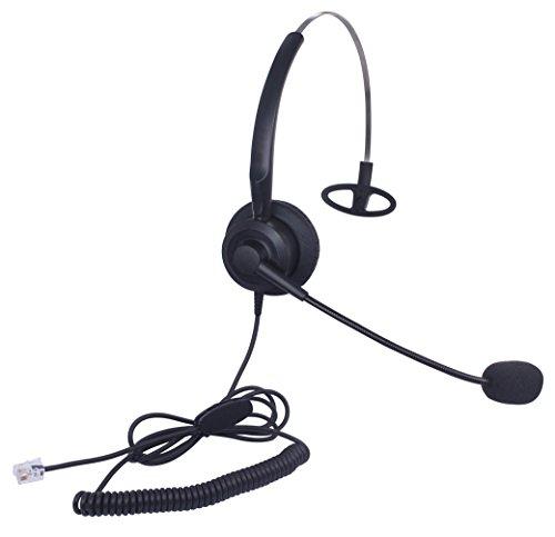 Xintronics Cuffie Telefono Fisso Mono RJ9 con Microfono a Cancellazione del Rumore, Auricolare Ufficio per Aastra ShoreTel Plantronics Alcatel Lucent Siemens ROLM (X10A1)