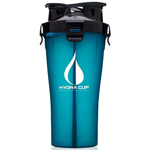 Hydra Cup - 30oz Dual Threat Shaker Bottle, Shaker Cup + Water Bottle, Leak Proof, Awesome Colors, Save Time & Be Prepared (Pack of 1, Shark Blue)