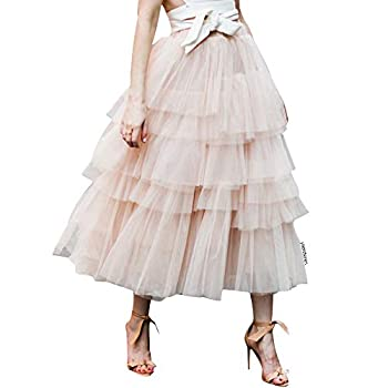 Chicwish Women s Nude Pink Tiered Layered Mesh Ballet Prom Party Tulle Tutu A-line Midi Skirt X-Small / Small