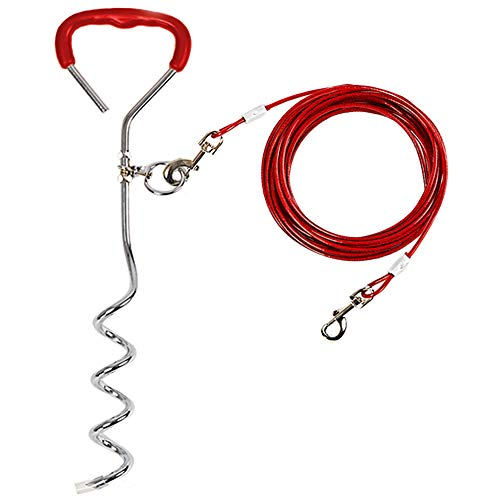 Dog Yard Stake with Tie Out Cable,16' Sturdy Stake and 20ft Dog Chain for Camping or Backyard,Durable Dog Yard Stake with Dog Training Leash Great for Medium Large Dogs Up to 125 lbs