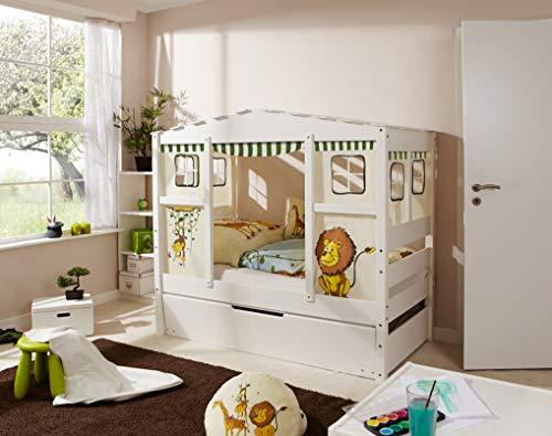 Ticaa Hausbett Mini mit Bettkasten Safari Kiefer Weiß