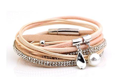 Bracciale multifilo in pelle con strass, perline in argento e una perla UK