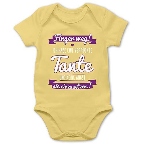 Shirtracer Sprüche Baby - Ich Habe eine verrückte Tante Lila - 3/6 Monate - Hellgelb - babysachen Junge - BZ10 - Baby Body Kurzarm für Jungen und Mädchen