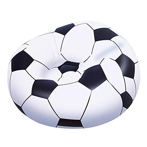 Acan Bestway - Sillón Hinchable fútbol 114 x 112 x 66 cm, Puff Inflable balón, Asiento Forma de Pelota para Interior y Exterior, válvula de Seguridad, Parche reparación, jardín, Camping