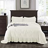 HIGI 3-Piece Shabby Chic Queen Ruffle Duvet Cover Ivory - Handmade Mermaid Long Ruffle - Easy Fit & Easy Care - 100% Cotton-Feel Wahed Microfiber - Romantic Country Style Breathable Bedding Set(Hila)