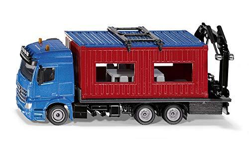 SIKU 3556 Camión con contenedor de Obra, Incl. grúa para retirar contenedor, 1:50, Metal/Plástico, Azul/Rojo