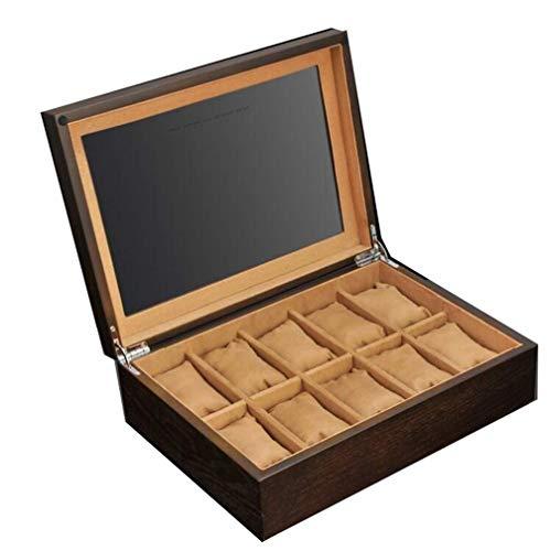 AMAFS Cajas de Reloj para hombres-10 Ranuras para Reloj, Caja de Reloj de Madera para joyería con Tapa de Cristal, Hebillas de Metal con Cerradura Beautiful Home