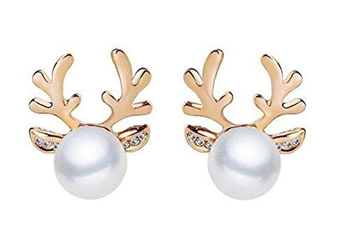 iTemer Damen Ohrringe Legierung (Gold), Perle Streifen Weihnachten Ohrringe Mode Geweih Design Geschenk Geschenk Schmuck