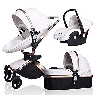 HZPXSB Cochecito de bebé de Lujo 3 en 1 carruaje de Moda Cochecito de bebé Plegable (Color : G White 3 in 1)