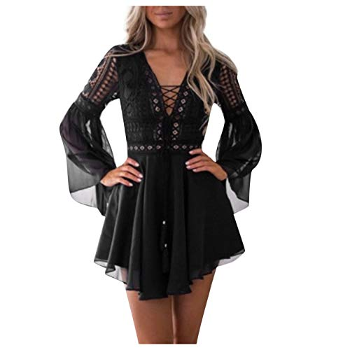 JABROCT Lace Long Sleeve Cocktail Party Pencil Dress Bandage Dresses for Women,Deep V Puff Sleeve Tassel Solid Color Party Dress(A-Black,Large)