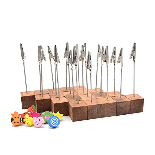 RETON 20 Pcs Lightweight Wooden Cube Base Memo Clips Holder Stand with Alligator Clip Clasp and 10 Pcs 3D Wooden Push Pins Thumb Tacks (Retro Color)