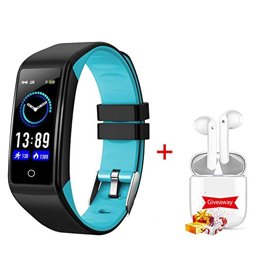 Smartwatch Orologio E auricolare bluetooth, 0.69 Pollici Display Fitness Tracker Uomo Donna IP67 Smart Watch Cardiofrequenzimetro da Polso Contapassi per Android iOS Smartband Cronometro (blu)