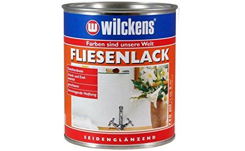 Fliesenlack weiss seidenglänzend inkl. Pinsel von E-Com24 zum Auftragen (Fliesenlack weiss seidenglänzend 750 ml)