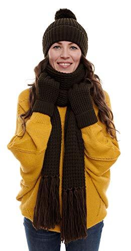 Hilltop Conjunto de Invierno de 3 Piezas Compuesto por Bufanda Tejida, Gorro y Guantes de Punto, Bufanda para Mujer XXL con Flecos con Gorro con Borla, conjunto de invierno:Dark Brown