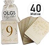 40 hitos de madera, incluye bolsa de tela para tu bebé, tarjetas de hitos como idea de regalo para nacimiento, bautizo, embarazo o fiesta de bebé, juego de 20 piezas 03 – rectangular Baby (DIN A6)