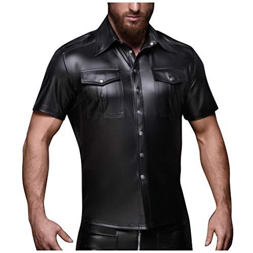 LoveLeiter Herren Leder Hemd Kurzarm Kunstleder Freizeithemd Lack Optik dehnbar und angenehm Männer Shirt Wetlook mit Brustaschen