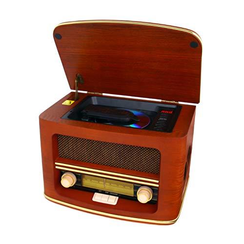 CAMRY CR 1167 Retro Radio aus Holz mit Fernbedienung, CD, MP3, USB, Bluetooth, Radio FM, Lautsprecher, Nostalgieradio, Retro-Design, tragbares Küchenradio, Vintage, braun