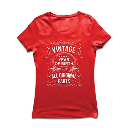 lepni.me Camiseta Mujer Año Personalizado Todas Las Piezas Originales Regalo de cumpleaños Vintage (Medium Rojo Multicolor)