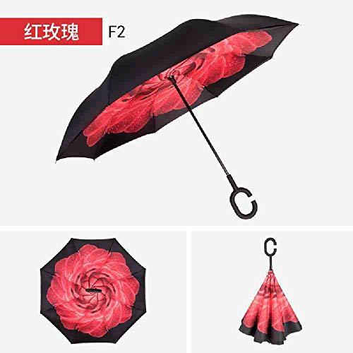 BJDKF Paraplu Windproof Inverted Umbrella mannen vrouwen omgekeerde Folding Dubbellaags Inverted Umbrella C-haak Auto Reverse Umbrella