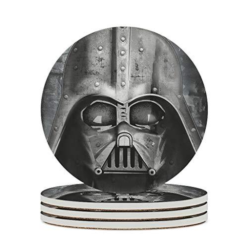 YshChemiy Posavasos redondos de cerámica Darth Vader con diseño de Star Wars con base de corcho impresión 3D, de cerámica, para vasos rayados de 9,9 cm de diámetro, 4 unidades, color blanco