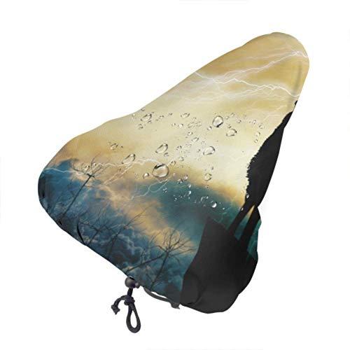 Enoqunt Funda para Asiento de Bicicleta, Silueta de Lobo Aullando, protección contra tormentas eléctricas, cojín de sillín de Bicicleta Resistente al Sol y a la Lluvia para Mujeres y Hombres