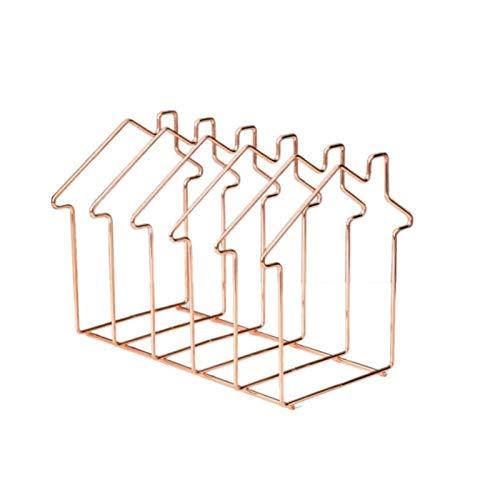 XLTT Adornos de Estilo nórdico Triángulo de Oro Rosa Soporte para Libros Estantería Plegable telescópica de Metal Revistero (Color : Rose Gold - Hut)