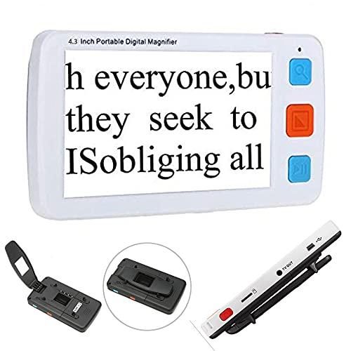 Lupa digital portátil de 4,3 pulgadas,pantalla LCD de mano de baja visión,compatible con HDMI AV Salida TV con almacenamiento de fotografías, con varios colores (negro)
