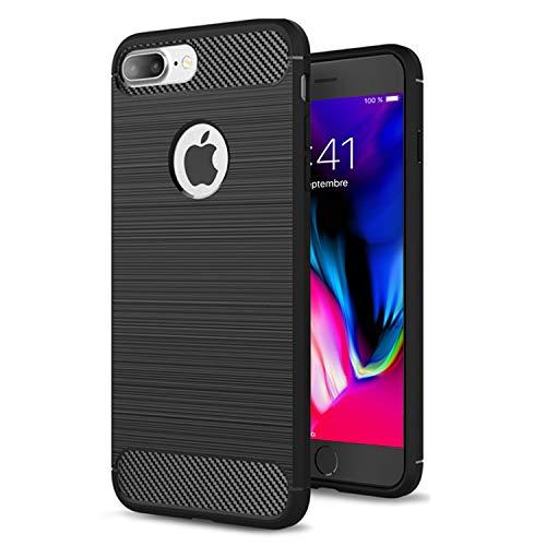 NEW'C Funda para iPhone 7 Plus y iPhone 8 Plus, Funda Protectora con absorción de Impactos y Fibra de Carbono [Silicone Gel Flex]