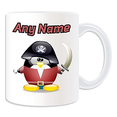 UNIGIFT gepersonaliseerd geschenk - piraat mok (Penguin in kostuum ontwerp wit) naam bericht unieke dom grappige novelty Caribische kapitein Jack Sparrow hoed Treasure Eyepatch Eye Pad eenogige schip bemanning