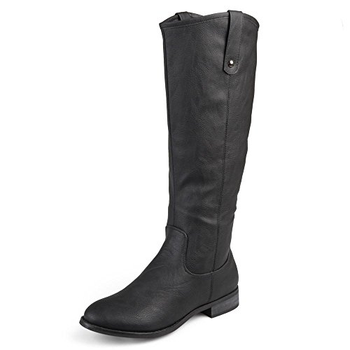 Journee Collection Womens Regular, Wide and Extra Wide Calf Round Toe Mid-Calf Boots Black, 6.5 Regular US