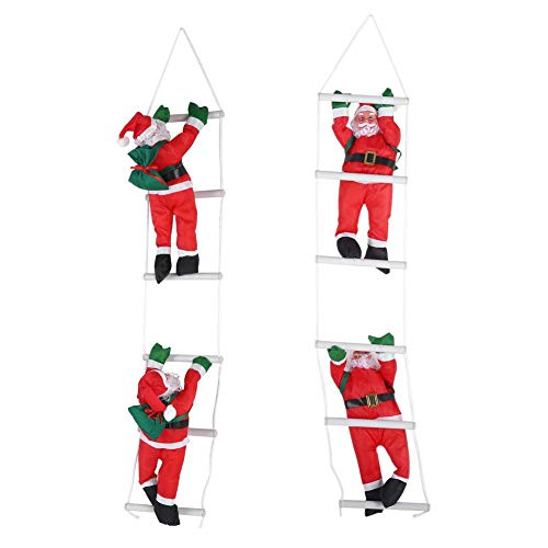 2 Santa Claus Climbing on Rope Ladder for Christmas Tree Home Decoration